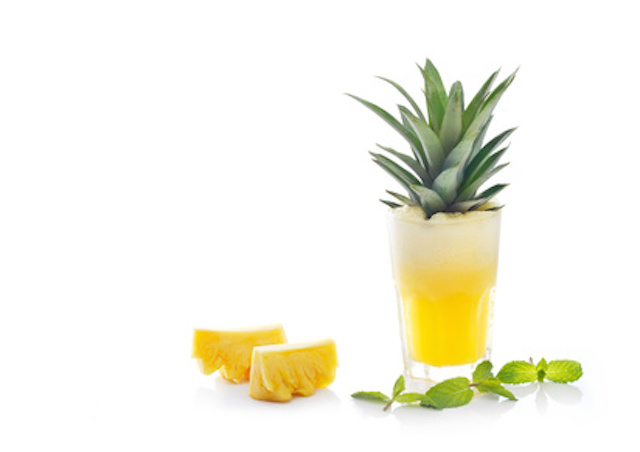 Detox diet, Detox water, pineapple juice and mint with raw pineapple on white background