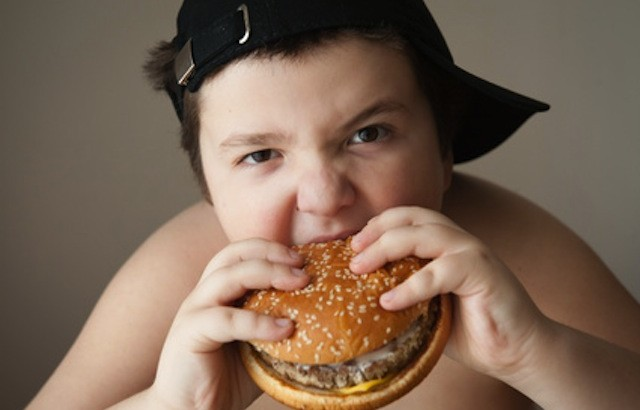 boy kid fat  burger food  health sports cap hungry